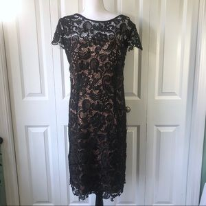Patra Crocheted Venise Lace Sheath Dress Black